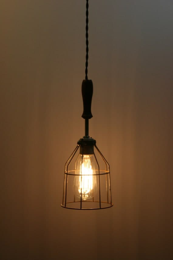 Wood handle industrial hanging pendant light with vintage for Suspension luminaire cage