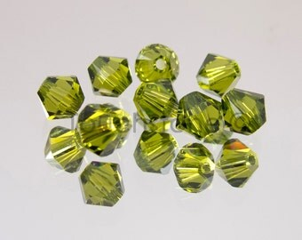 4mm Olivine Swarovski Crystal Bicone Beads #45-1161