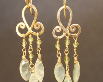 Peridot & prehnite on hammered chandelier earrings Gypsy 81