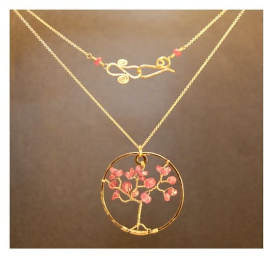 Tree of Life necklace with pink tourmaline beads Necklace 260