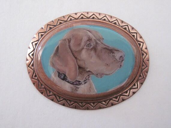 Vizsla wearable art copper pin