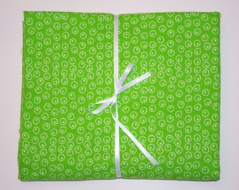 Extra Large Receiving/Swaddle Blanket - Lime Green Polka Dots 36x42