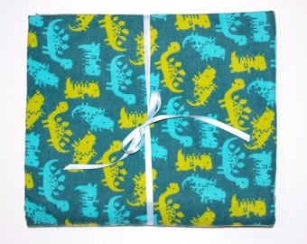 Extra Large Receiving/Swaddle Blanket -Turquoise Dinosaur Reptile