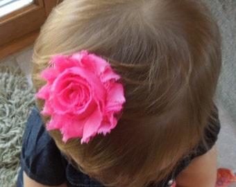 Shabby Chic Flower, Hot Pink Hair Clip, Baby Bow, Baby Girl Headband, Newborn Headband.