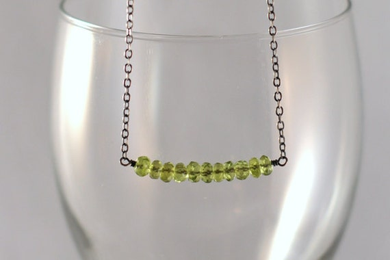 SALE: AAA Grade Peridot Sterling Silver Inline Bar Necklace - Antiqued