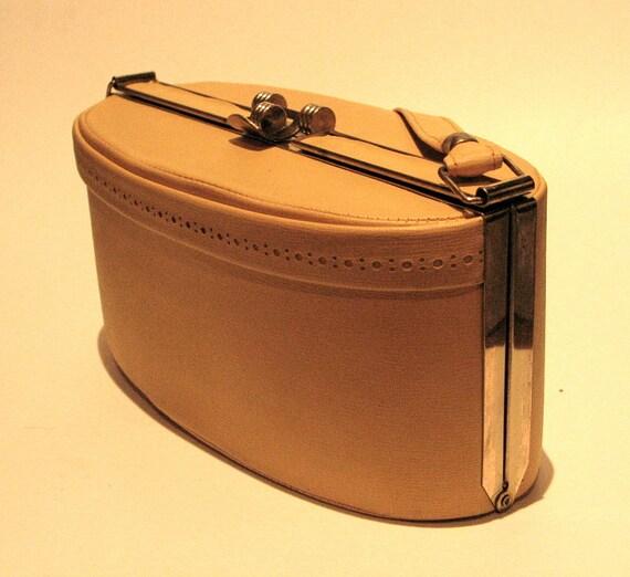Vintage 1950s Yellow Oval Box Handbag