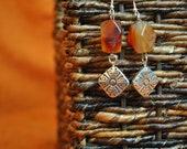 Handmade earrings, Carnelian faceted with metal diamonds