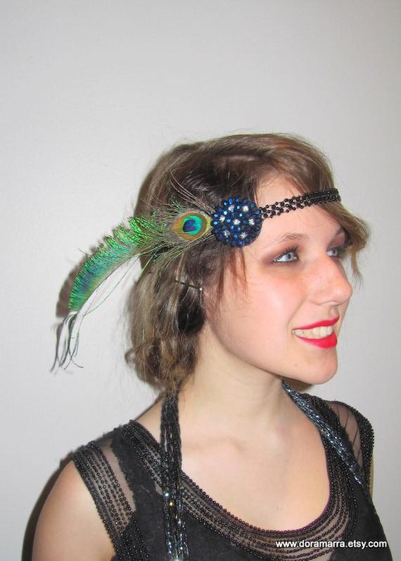 1920s Peacock Head wrap- Flapper headpiece- Gatsby headdress- 20s hair ...