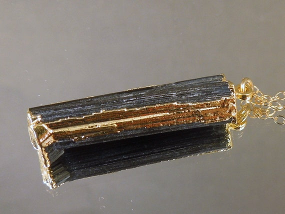 Tourmaline Necklace - RARE Raw Tourmaline Pendant - Edged in 24k gold - Gold Fill Chain Ooak One of a Kind