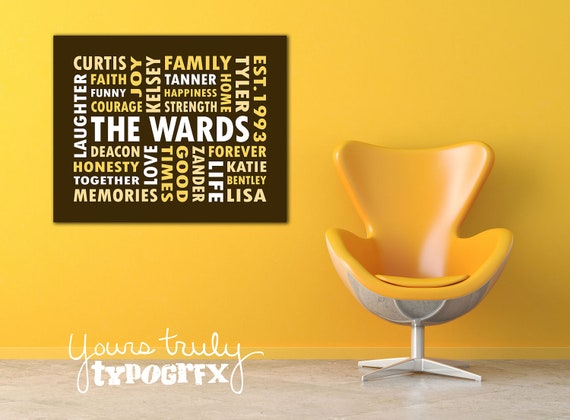 18x24 Canvas featuring Custom Typography Word Art - Your Words, Your Colors, Your Story - Great for Family, Wedding Gifts