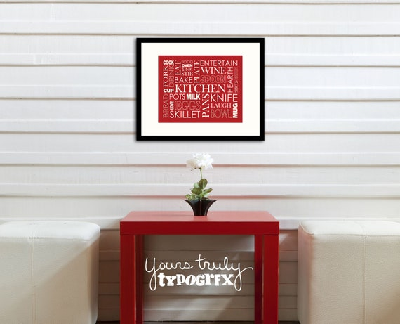 Kitchen themed typography word art 8x10 matted print in for Kitchen design 8x10