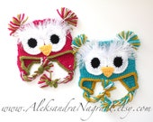 OWL TWIN SET - Baby - photo prop - wool or acrylic - Made To Order
