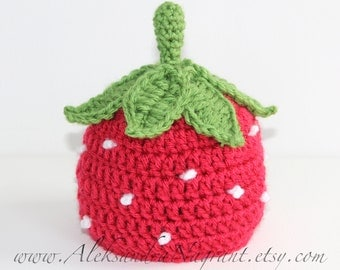 STRAWBERRY baby newborn hat - photo prop  - acrylic - Made To Order