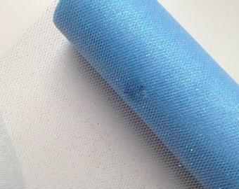 """6"""" Light Blue Glitter Tulle - 10 Yards"""