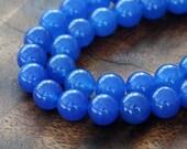 Dyed Jade Beads, Semi-Transparent, Royal Blue, 8mm Round - 15 Inch Strand - eSJR-B10-8