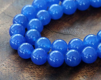 Dyed Jade Beads, Semi-Transparent, Royal Blue, 8mm Round - 15 Inch Strand - eSJR-B10-8