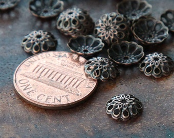 Bead Caps, Antique Copper, 8mm Vintage Style - 50 pcs - eBCR014-AC