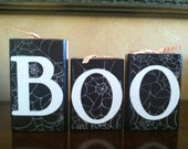 Wood Boo Blocks - Wood Halloween blocks - Seasonal Home Decor for fall, halloween, and thanksgiving decorating