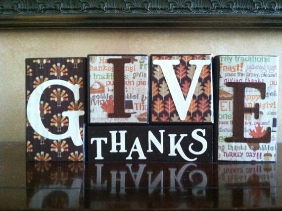 Wood Fall Block set - Give Thanks Blocks - Seasonal Home Decor for fall, Halloween, and Thanksgiving decorating