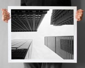 New York Photography, NYC Fine Art Photography - 16x20, Canvas or Photo Paper Skyscrapers Upside-down, Black and White, geometric