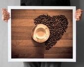 Valentine's Day, Love Coffe Photograph, Kitchen Decor Photograph, Coffee Home Decor, Fine Art Heart Print, 16x20