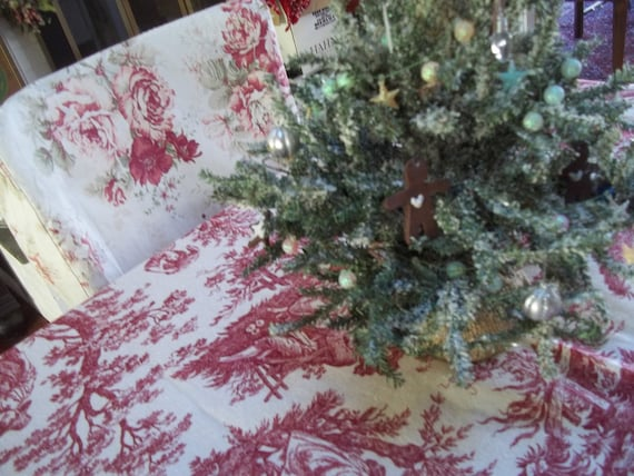 Crimson Red Cranberry Toile Waverly Fabric Country Life