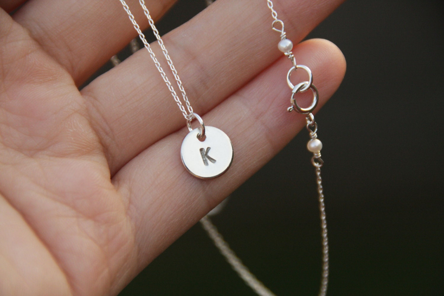 silver initial necklace monogram necklace sterling silver