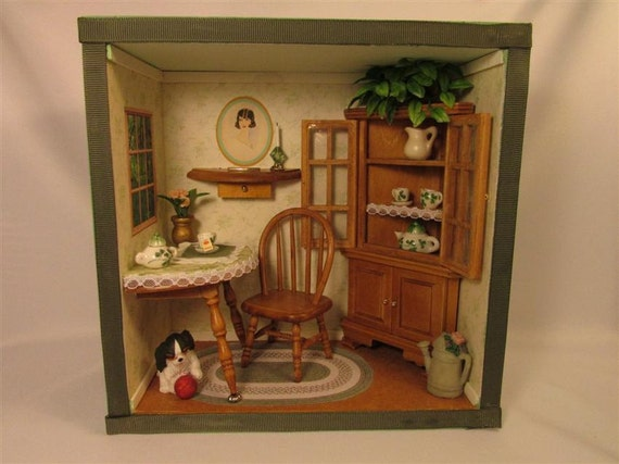 Miniature Children S Bedroom Room Box Diorama: Dining Room Shadow Box / Room Box