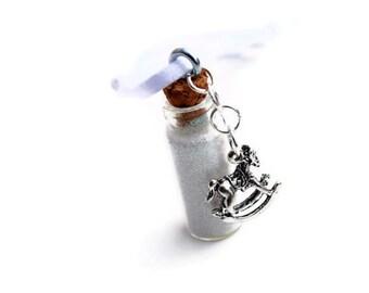 Rocking Horse Christmas Ornament, Cork Jar, Vial, Iridescent Glitter, White, Winter, Sparkle