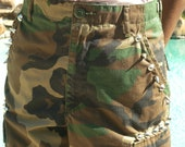 Studded US Army Camouflage Pants, Rocker Pants, Trouser Army Pants, Army Cargo Pants (O) Size XSmall
