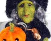 Little Witch With Pumpkin, Needle Felt Figure, Halloween Home Decor