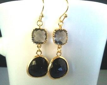 Lovely Black and Gray Wedding Earrings,earrings,Chandelier Earrings ,Drop, Dangle, bridesmaid gifts,Wedding jewelry
