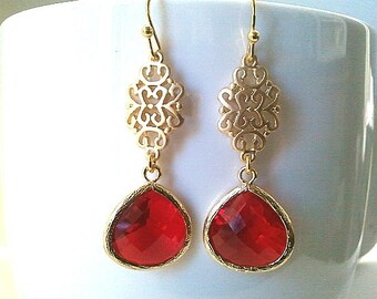 Oriental Red Gold Earrings,Drop, Dangle, Glass Earrings, Birthstone Earrings,bridesmaid gifts,Wedding jewelry, Christmas Earrings, Gifts