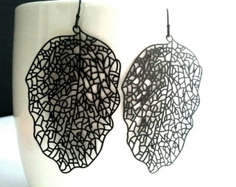 Black Large filigree leaf drop,Dangle, Earrings,bridesmaid gifts,Wedding jewelry