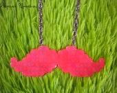 Hot Pink UV Reactive - Perler Bead Mustache Necklace