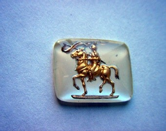 Vintage Glass Intaglio of Gold Horse and Knight     # G 8-9