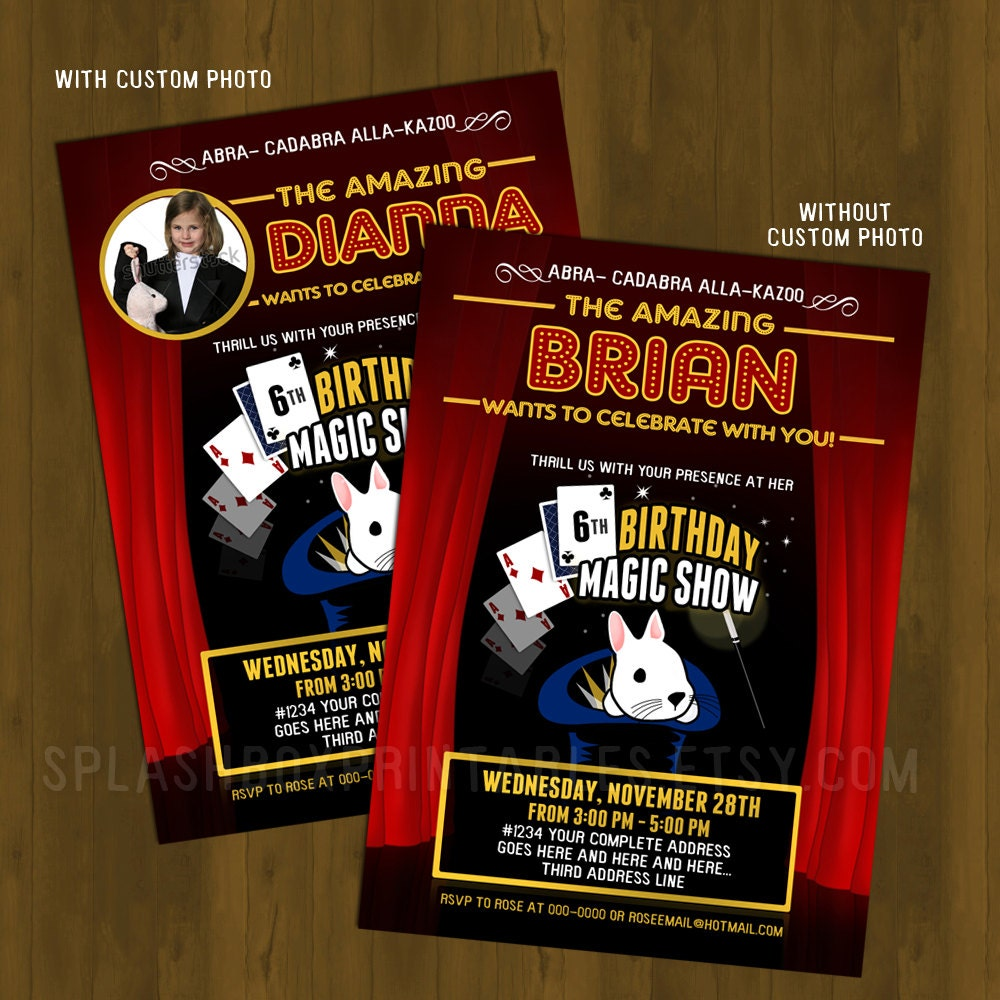 Magician Invitation Magic Show Party by SplashboxPrintables