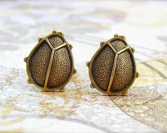 Ladybug - antique brass post earrings