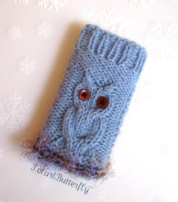iPod case iPhone 5/ 4 holder HTC Droid cover Smartphone bag iPod Touch sleeve Samsung mobile Blackberry, cute Owl knit in misty blue