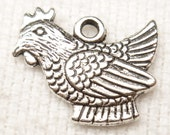 Chicken, Rooster, Hen Charms, Antique Silver (6) - S89