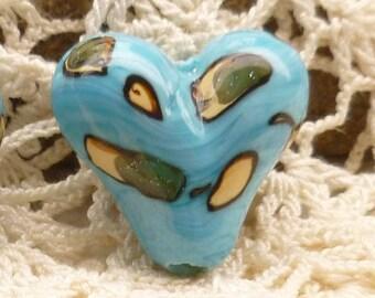 Fabulous Sky Blue Lampwork Heart Bead Focals (6)