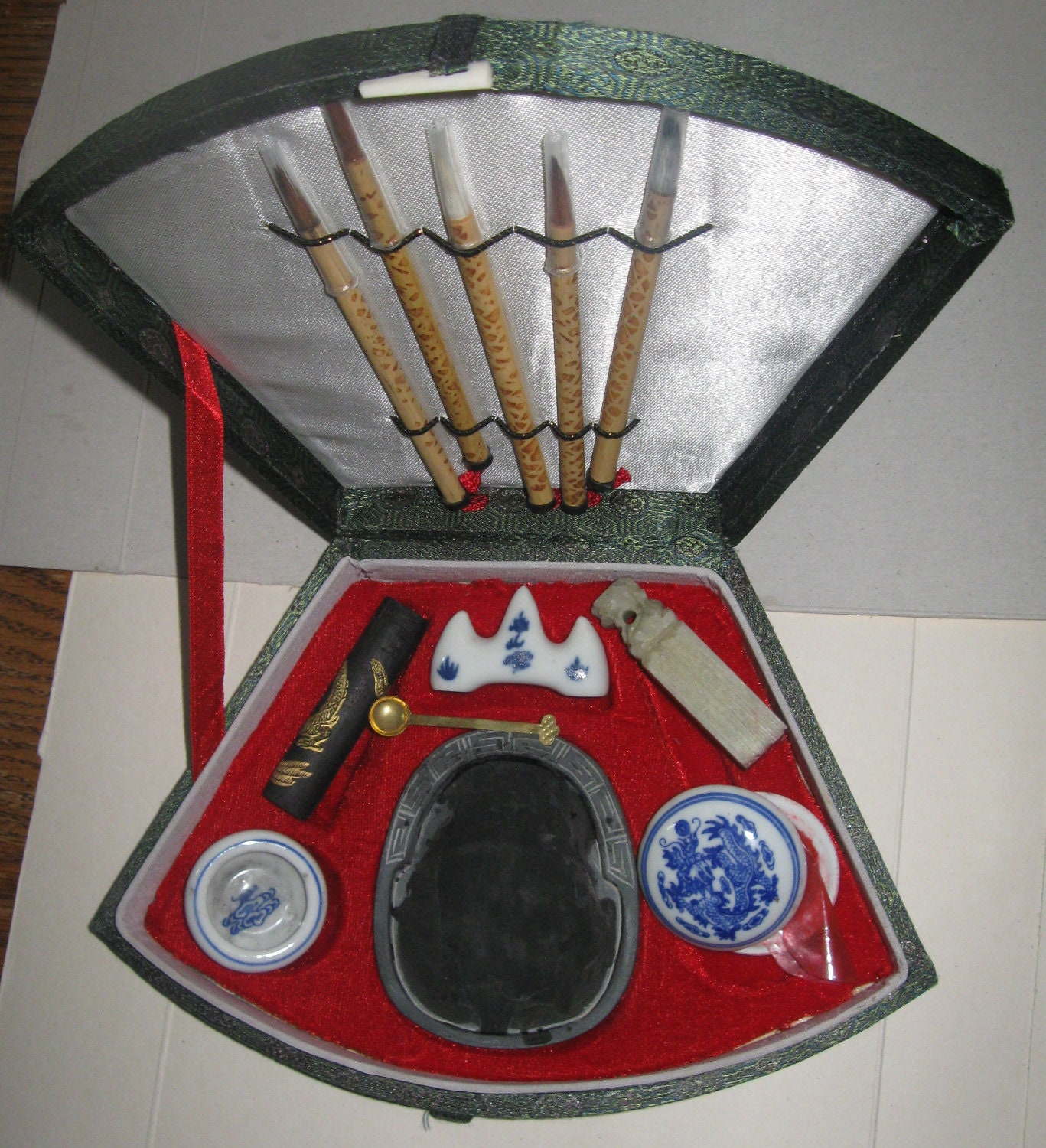 Chinese Calligraphy Set With 5 Brushes And Grinding Tools