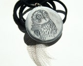 owl illustration - image transfer resin pendant - black suede cord with feather