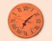 orange wall clock, home decor, unique wall clock