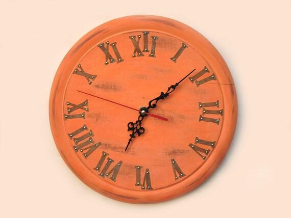 Orange Wall Clock Home Decor Unique Wall Clock