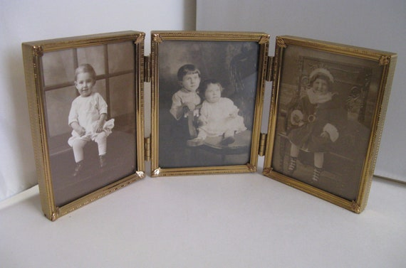 ANTIQUE hinged brass triple frame 3 old photos of children