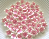 30 Pink on White  BLOSSOMS  /   Gum Paste Flowers / Edible Cake Topper and Cupcake Decorations