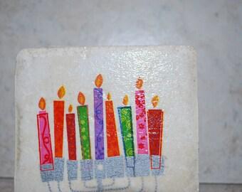 Candle ceramic tile coasters
