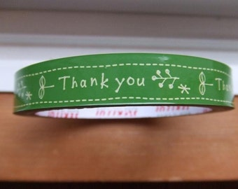 Herb Leaf Design Japanese Deco Thank You Tape