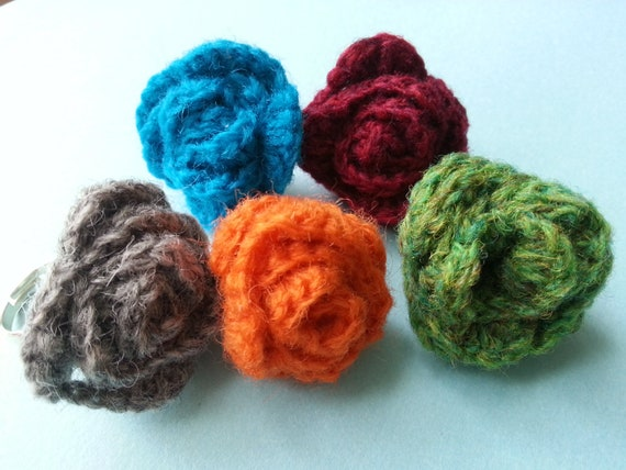 Crochet Rose Rings- Blue, Gray, Green, Red, Orange. Handmade, FREE UK POSTAGE